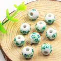 Beads, Porcelain, Green , White , Round shape, Diameter 10mm, 1 bead [Sold Individually], [TCZ0038]